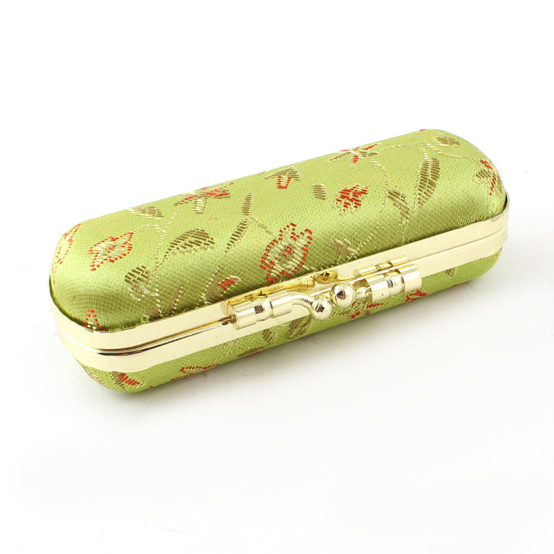 Yellowgreen Kiss Lock Clasp Mirror Inner Lipstick Holder Case Box Container