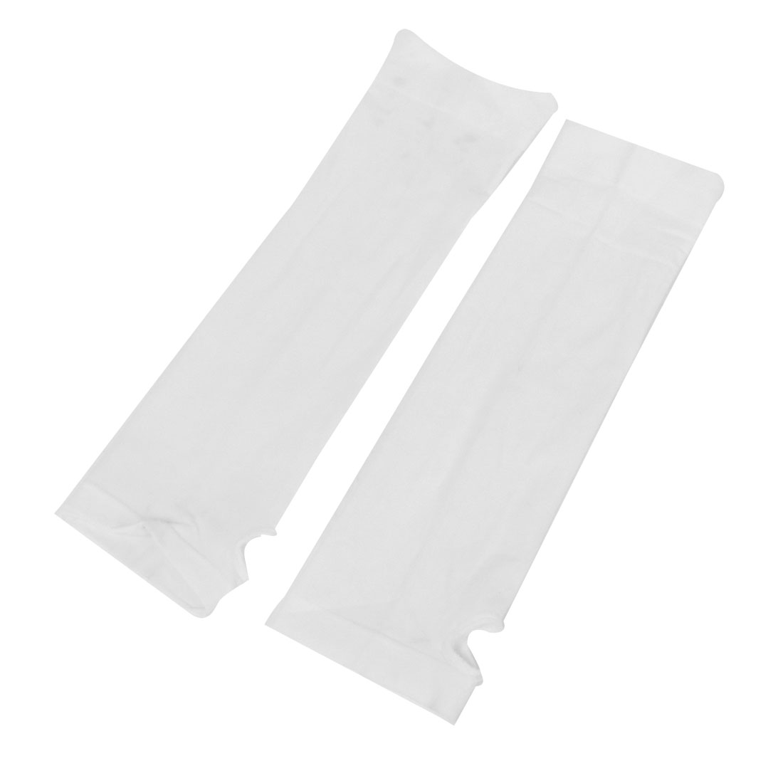 Lady UV Protection Sun Block Evening Party Fingerless Gloves Pair White