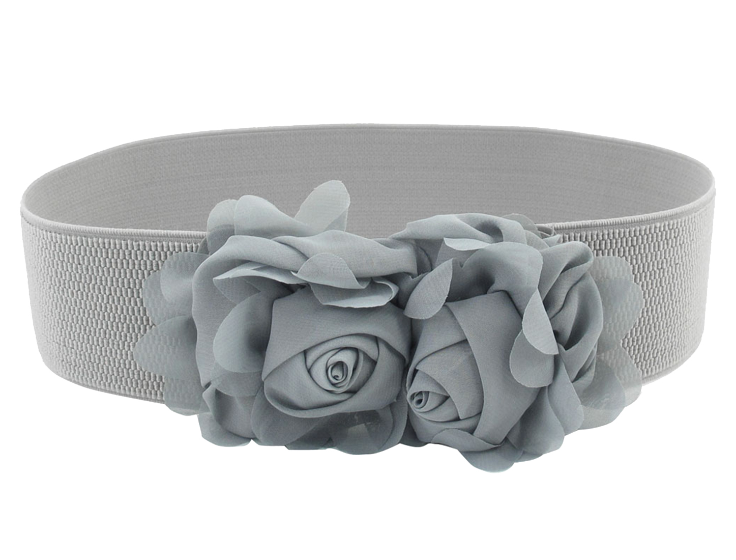 Woman Press Stud Buckle Two Chiffon Flower Decor Elastic Waist Cinch Belt Gray
