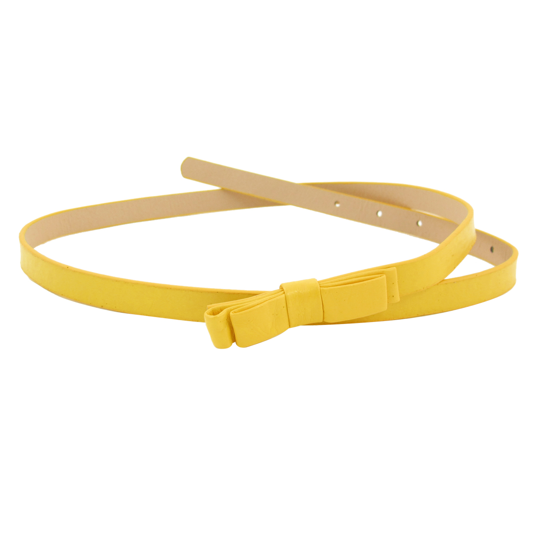 Lady Double Layer Bowknots Decor Buckle Faux Leather Waist Belt Yellow