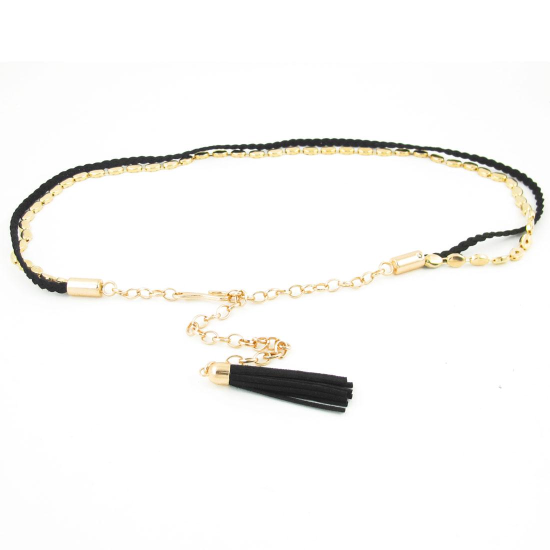 Woman Lobster Clasp Buckle Tassel Decor Gold Tone Black Waist Chain Belt