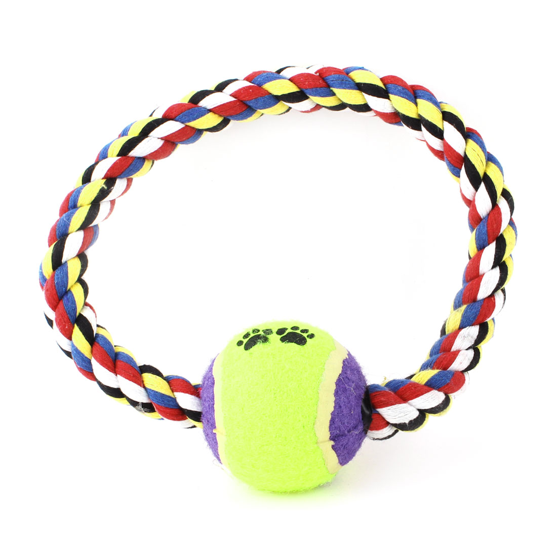 Colorful Knot Rope Purple Yellowgreen Ball Decor Pet Puppy Chew Tug Toy