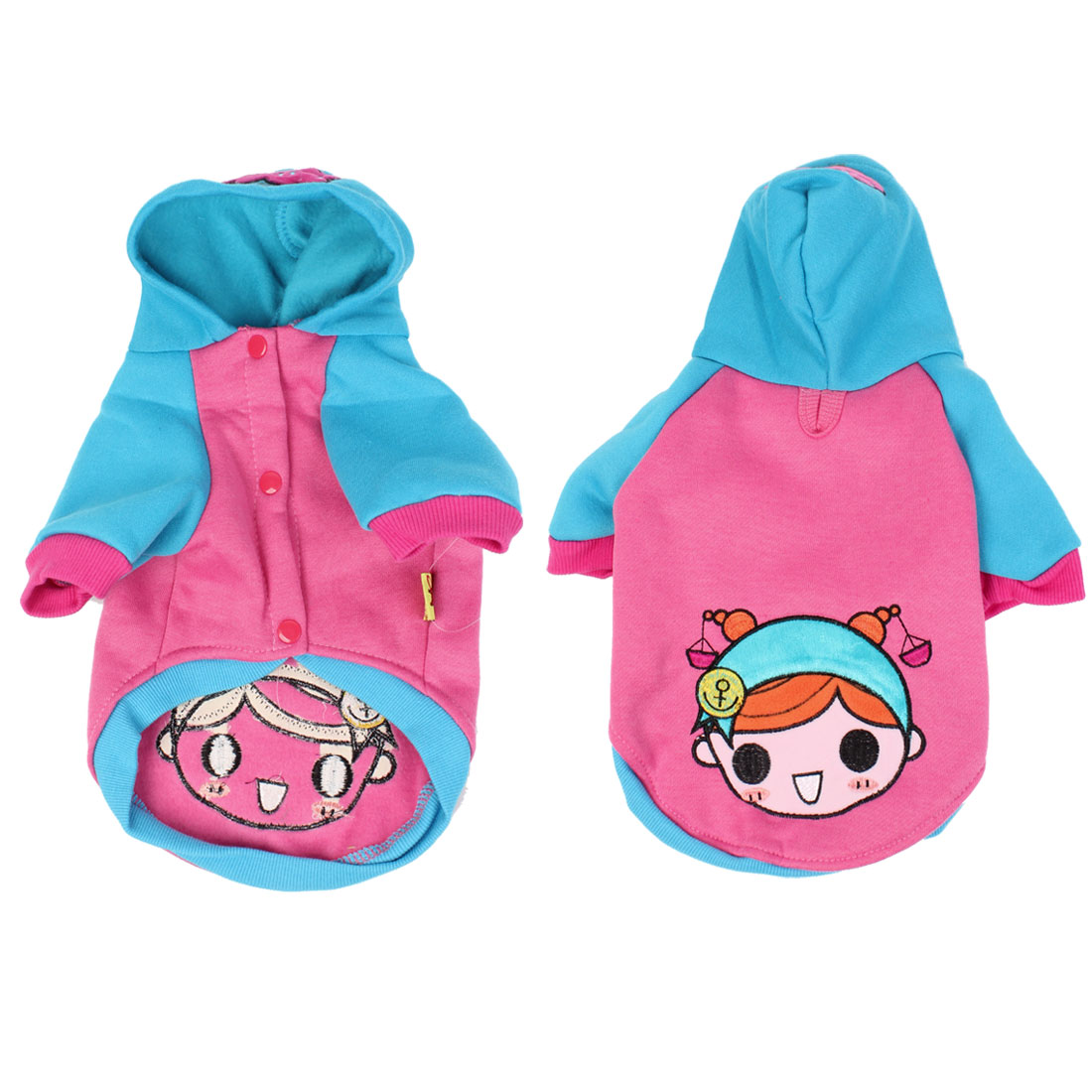 Pet Puppy Dog Blue Pink Cartoon Pattern Press Stud Button Coat Apparel Size XS