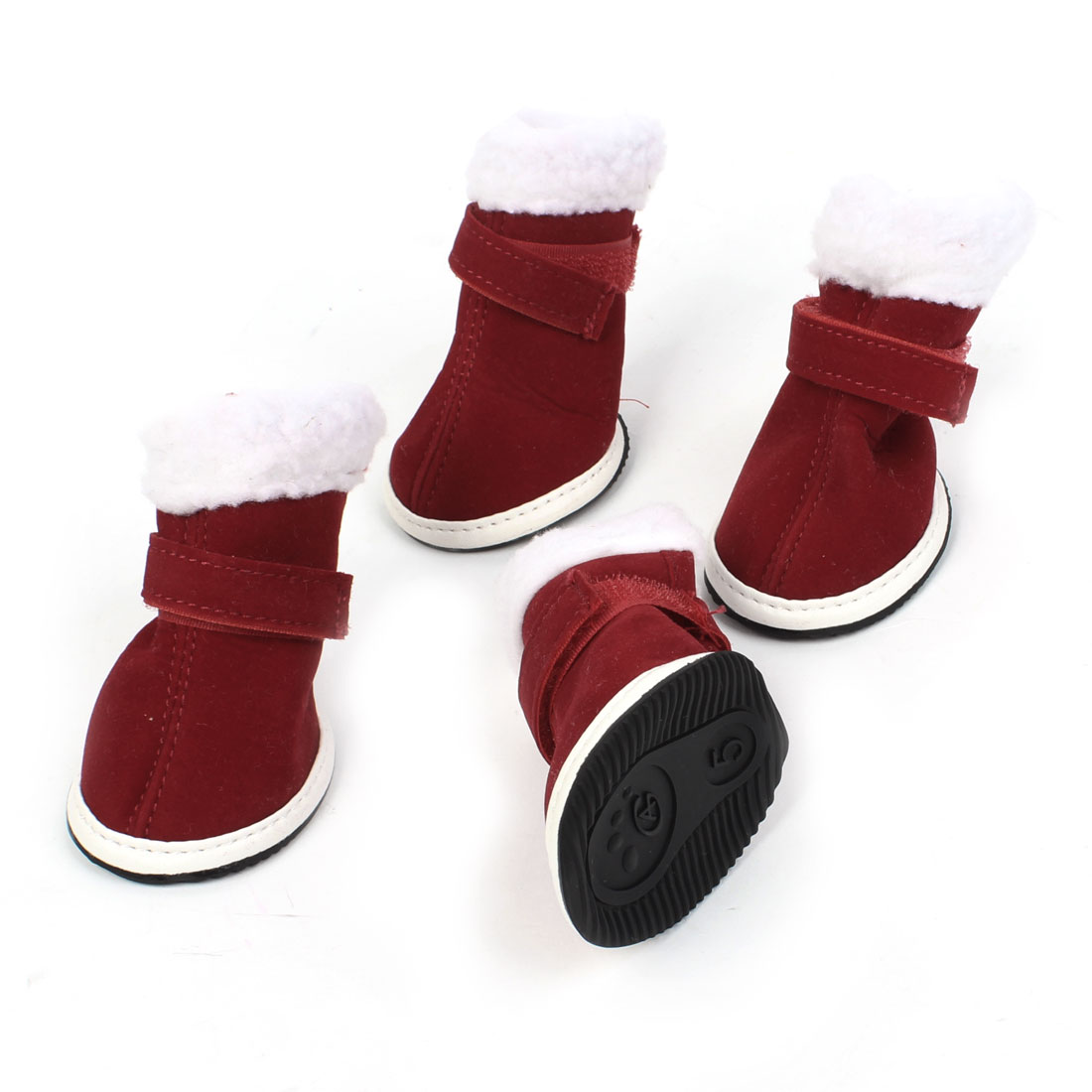 2 Pairs White Burgundy Detachable Closure Xmas Boots Shoes XS for Pet Dog Doggie