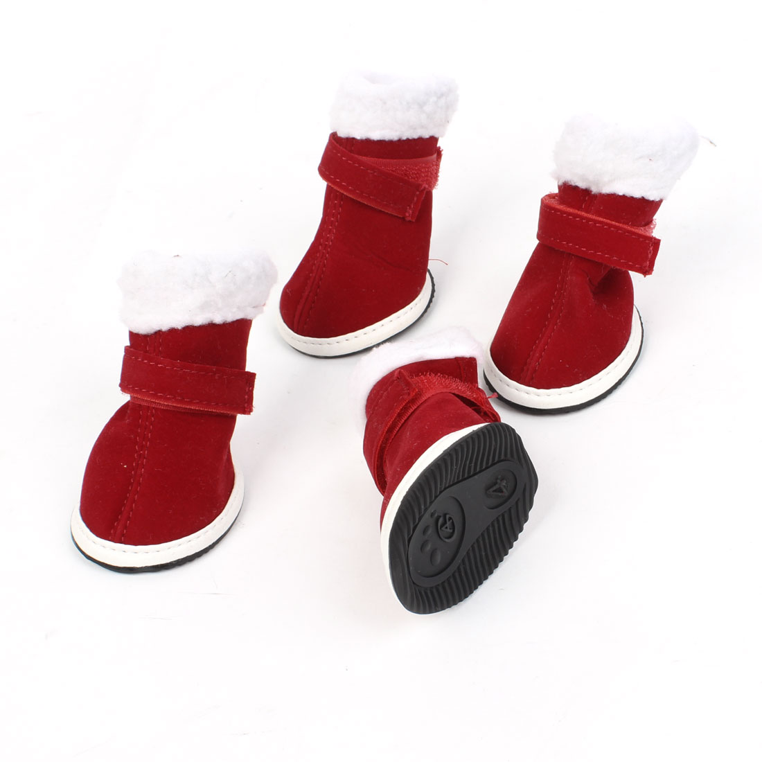 2 Pairs White Plush Brim Burgundy Christmas Pet Doggie Shoes Boots Booties XXS