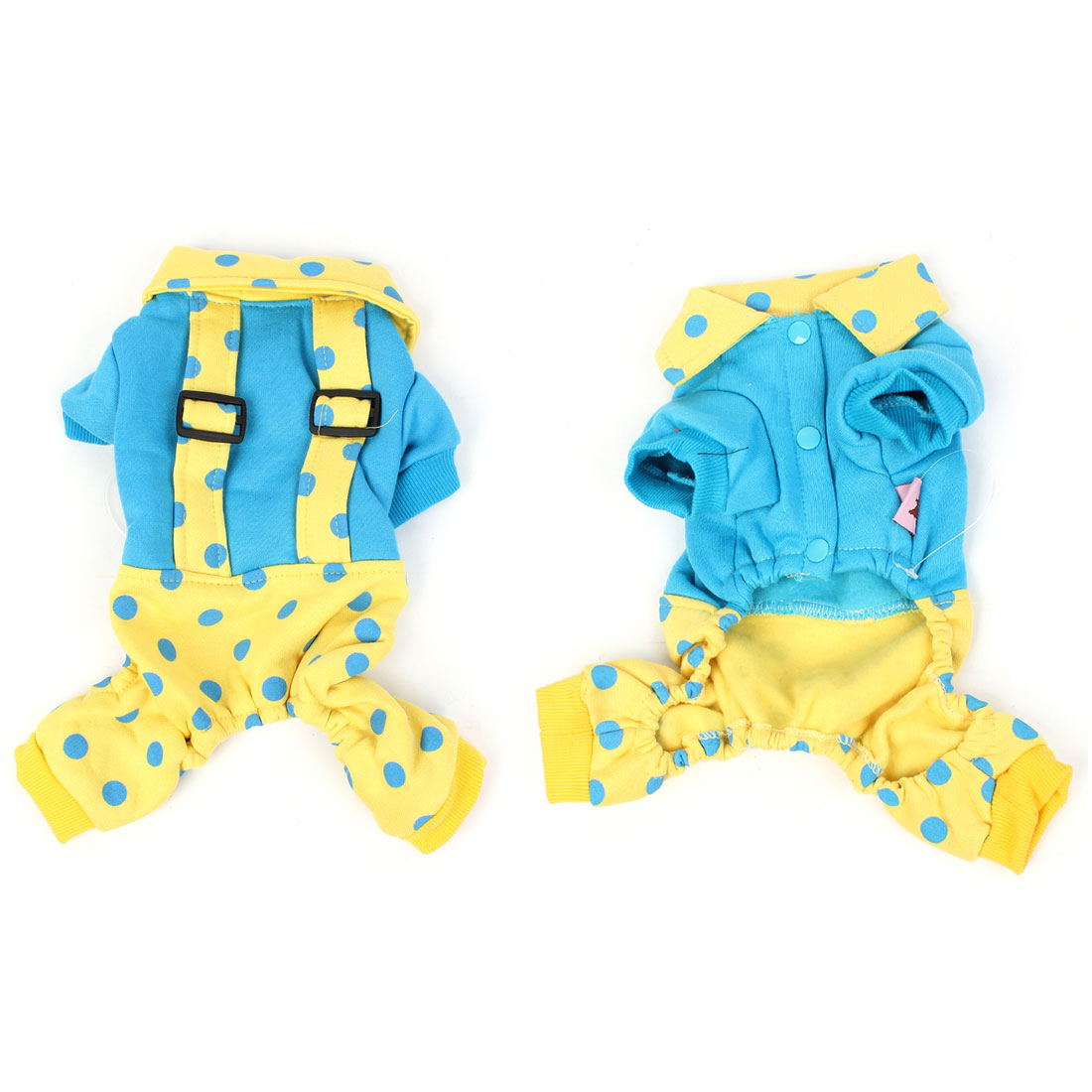 Pet Dog Doggie Yellow Dots Pattern Single Breasted Jumpsuit Suspenders Size XXS