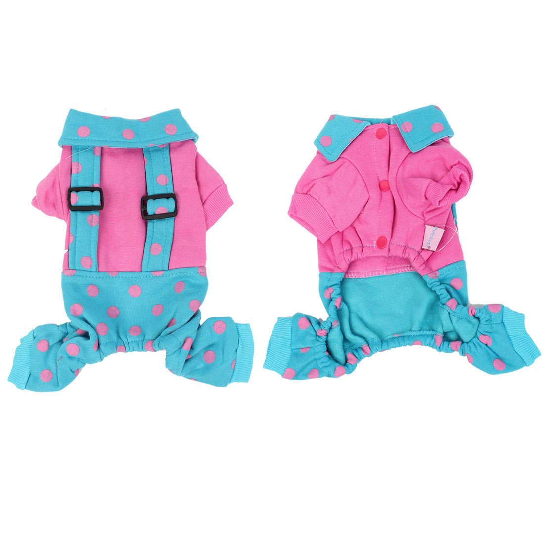 Fuchsia Single Breasted Collar Dots Pet Yorkie Dog Jumpsuit Suspender Coat XS
