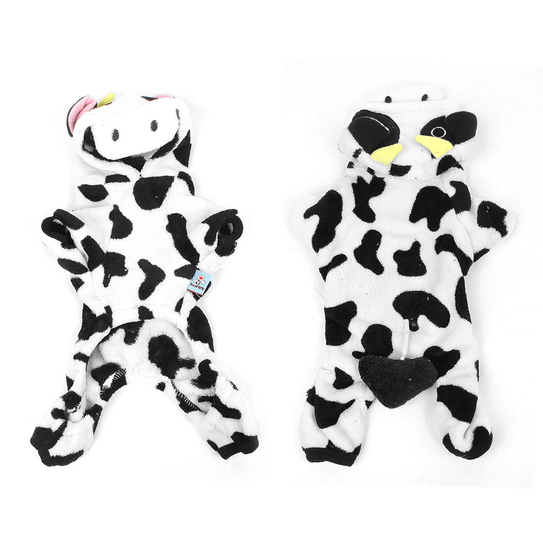 Winter Plush Black White Cow Pattern Hooded Sleeves Pet Dog Doggie Clothes Coat Size XS
