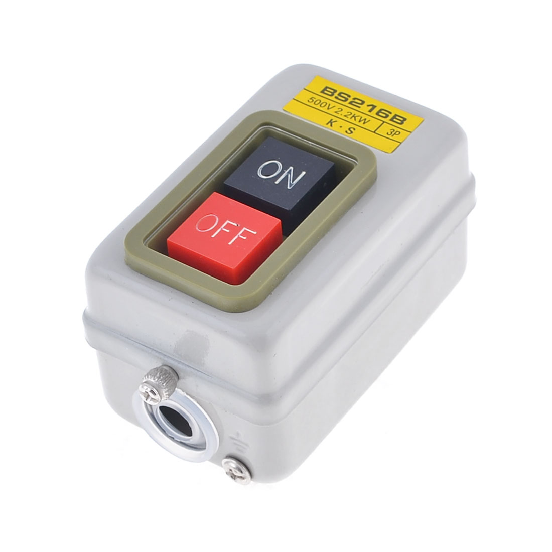 3P 500V 2.2kW Screw Terminals On/Off Self Lock Power Pushbutton Switch