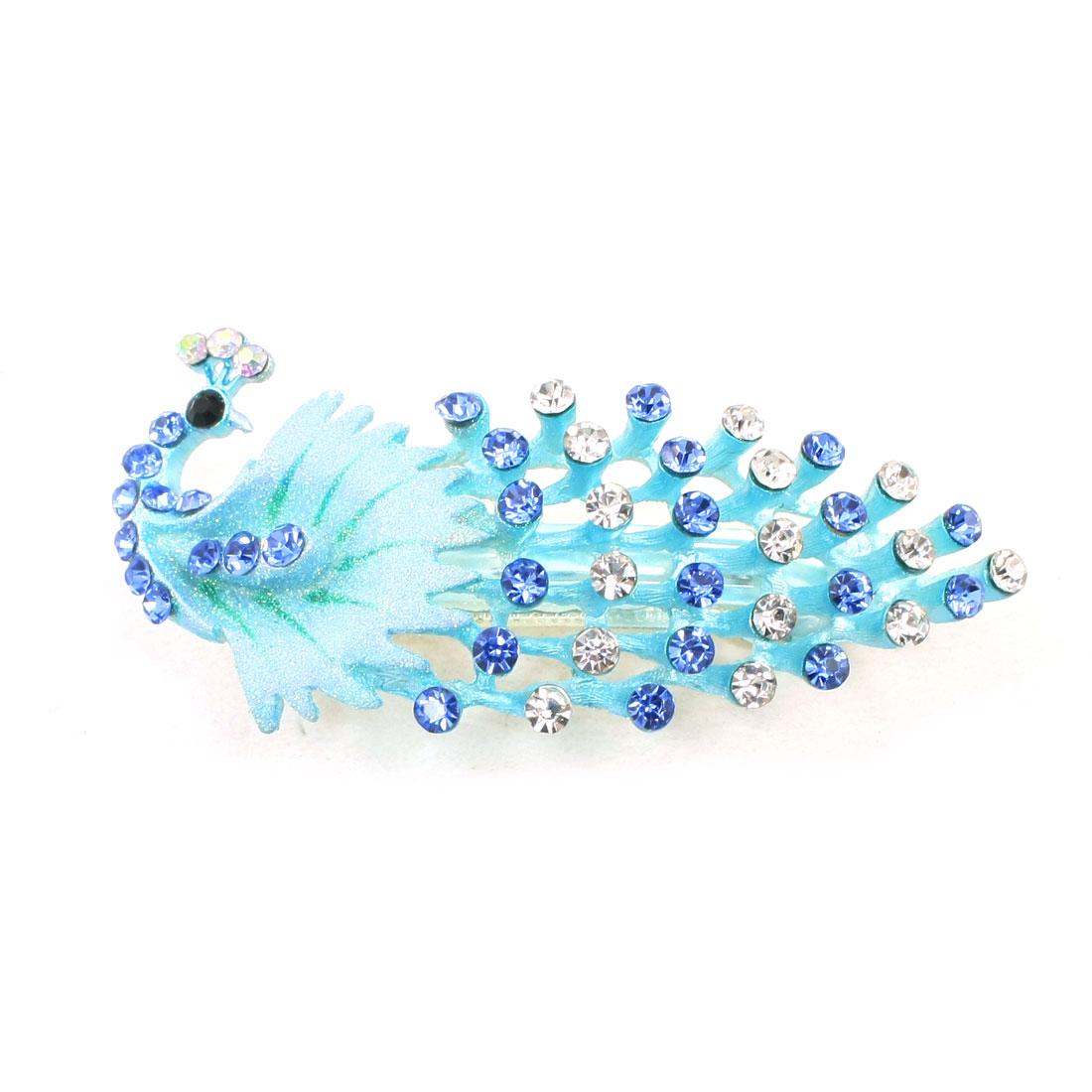 Plastic Rhinestones Decor Blue French Clip Hair Barrette for Lady