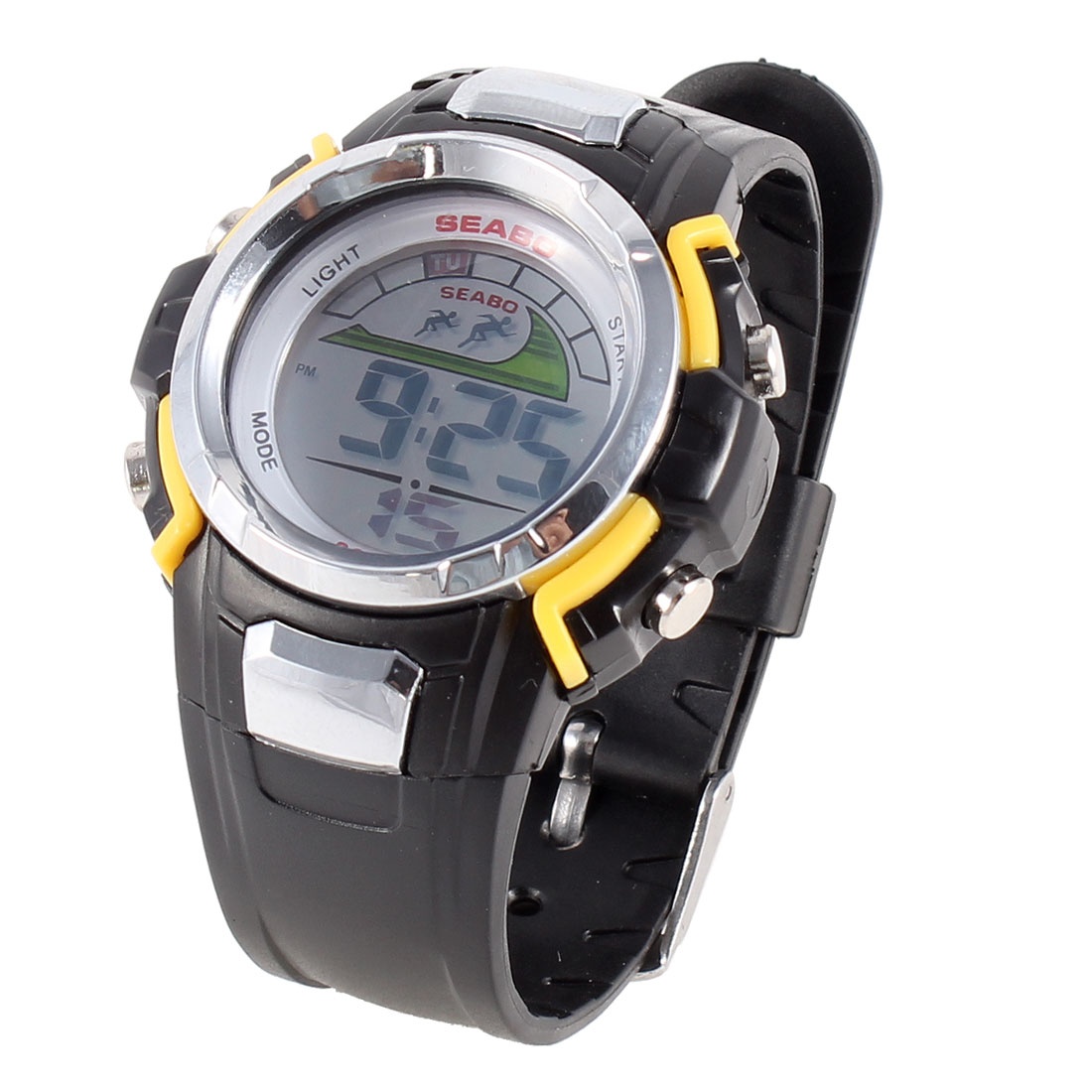 Lady Yellow Black Plastic Adjustable Digital Sport Watch Wristwatch
