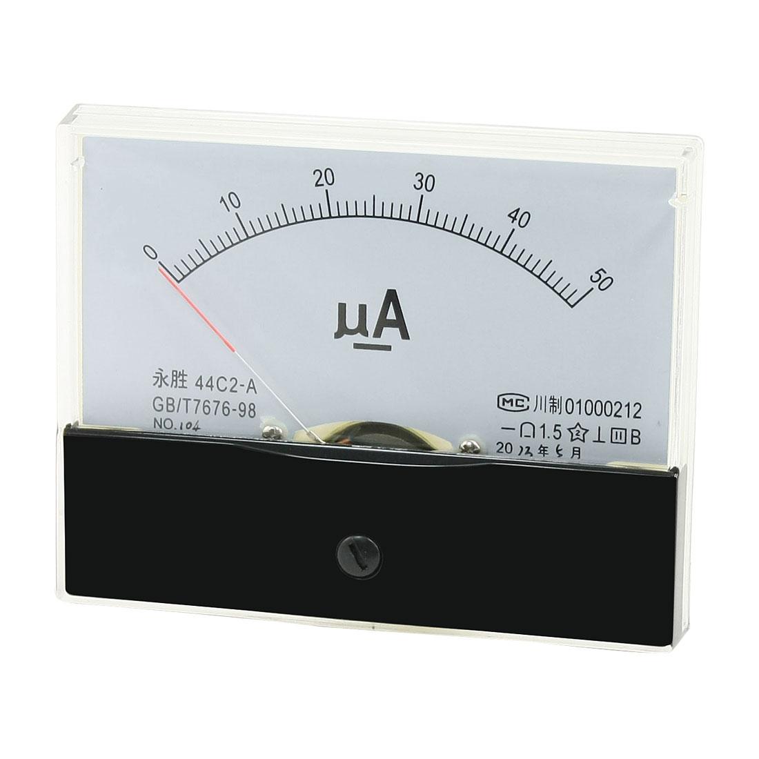 Rectangular Analog Panel Meter Gauge Amperemeter 44C2-A DC 0-50uA