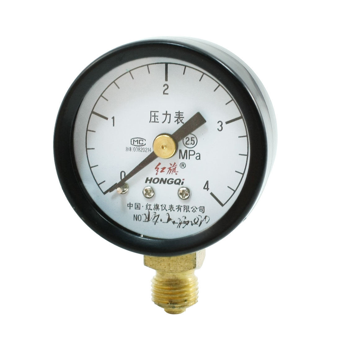 0-4Mpa 10mm Male Thread Black Metal Case Pneumatic Pressure Gauge