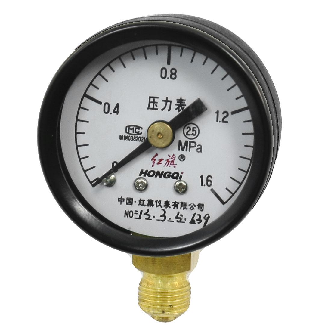 Horizontal Mount 10mm Male Thread Water Air Pressure Gauge 0-1.6Mpa