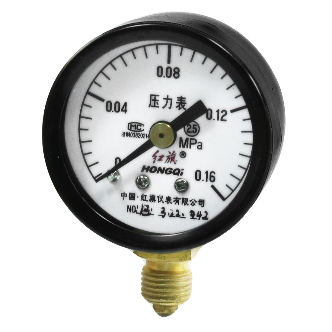 Round Dial 0-0.16Mpa Air Compressor Pressure Gauge 10mm Dia Thread