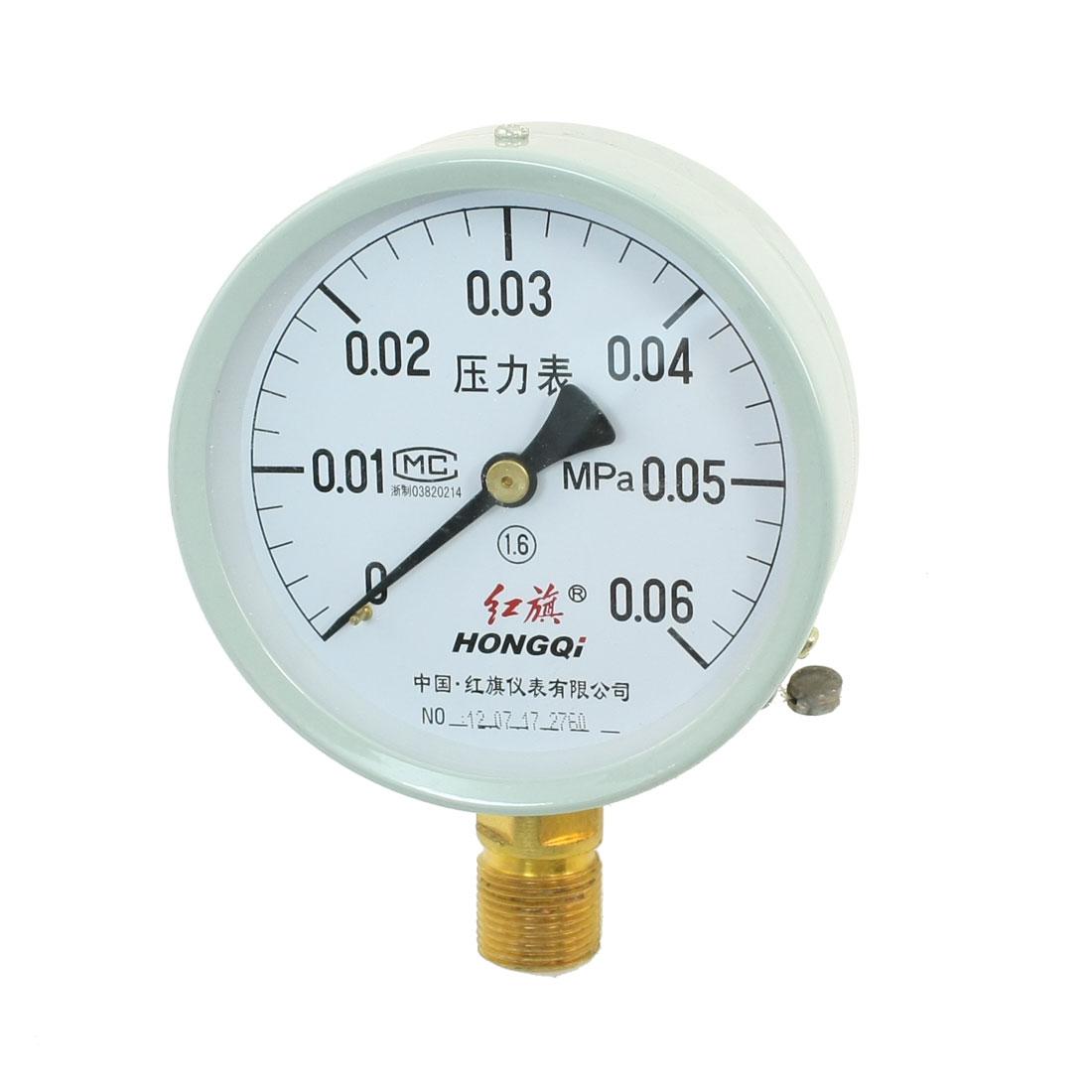 0-0.06MPa Metal Case Horizontal Mount Pneumatic Pressure Gauge