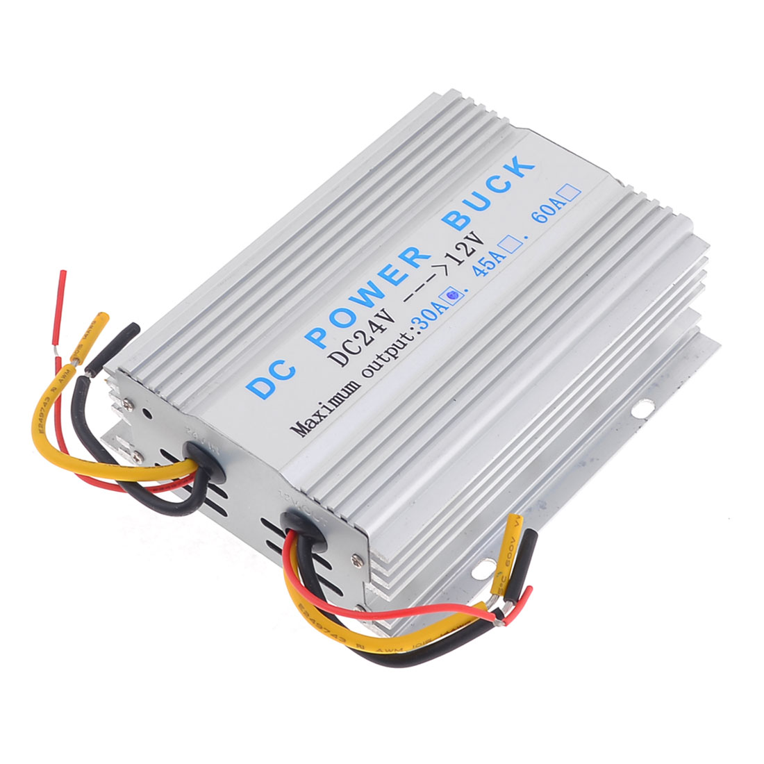 Silver Tone Metal Casing DC 24V to 12V 30A Power Supply Converter for Auto