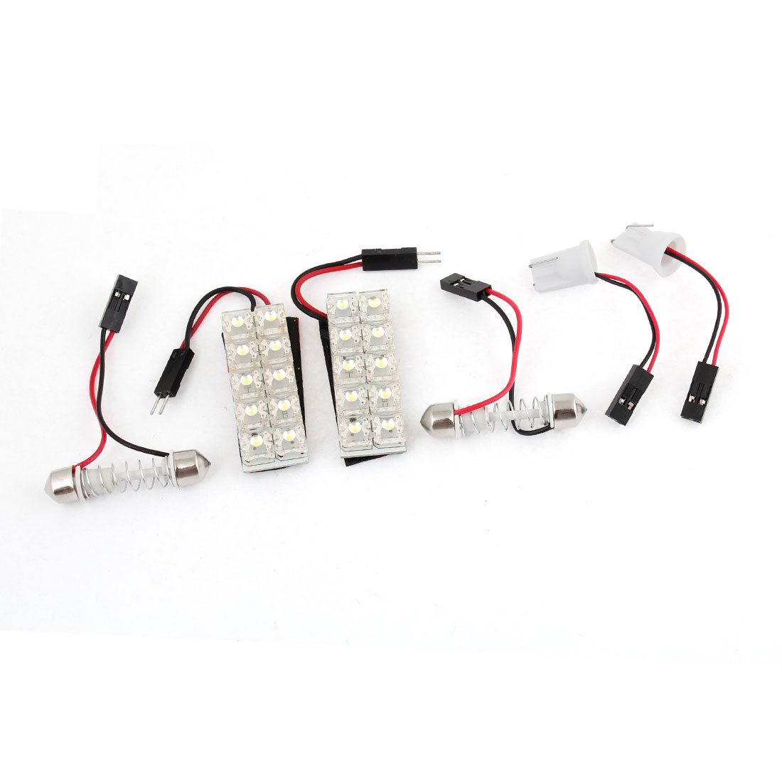 Pair Auto Interior Roof White 10-LED Light Panel DC 12V w T10 Festoon Adapter