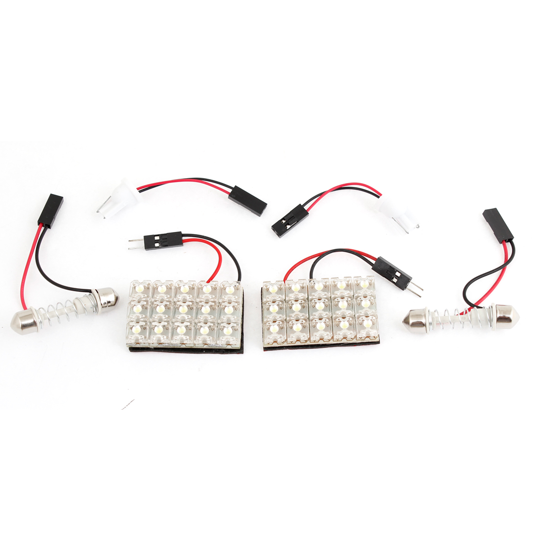 2 Pcs Festoon Base T10 Adaper w 15 White LED Dome Roof Light for Car