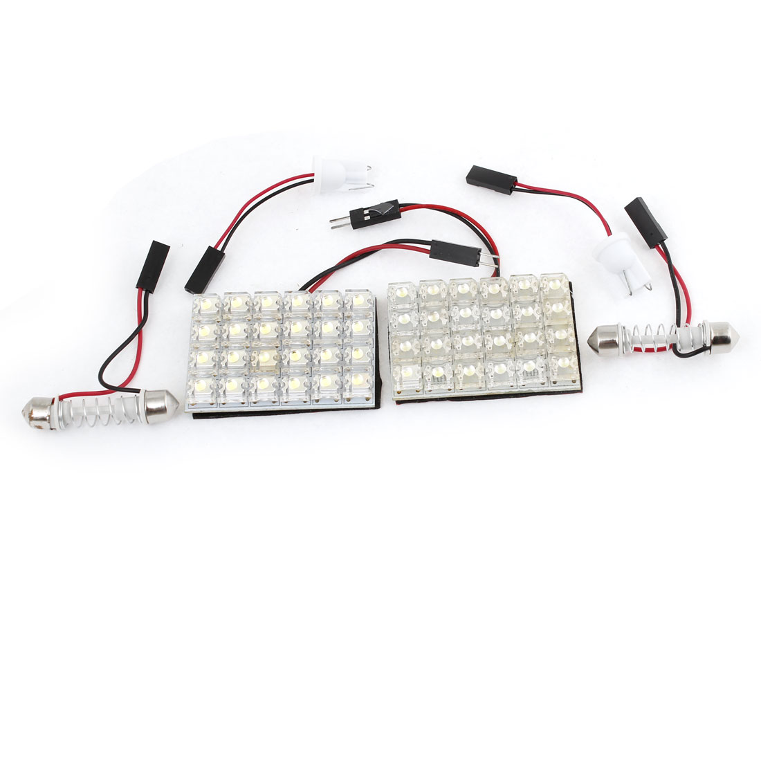 Pair Car White 24-LED Light Panel w T10 Festoon Bulb Adapter DC 12V