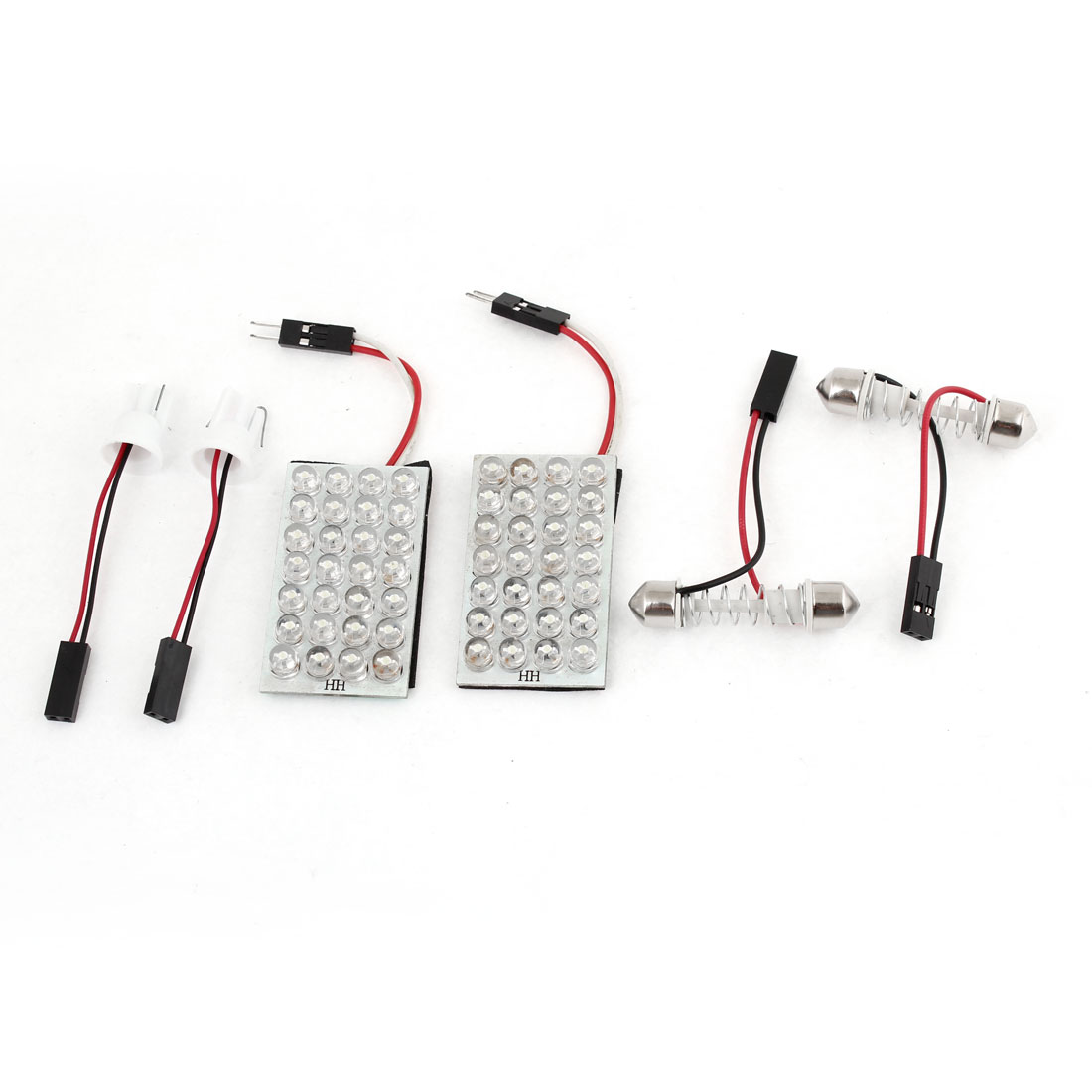 Pair White 28 LED Car Interior Dome Light Bulb w T10 Festoon Base Adaper 12V