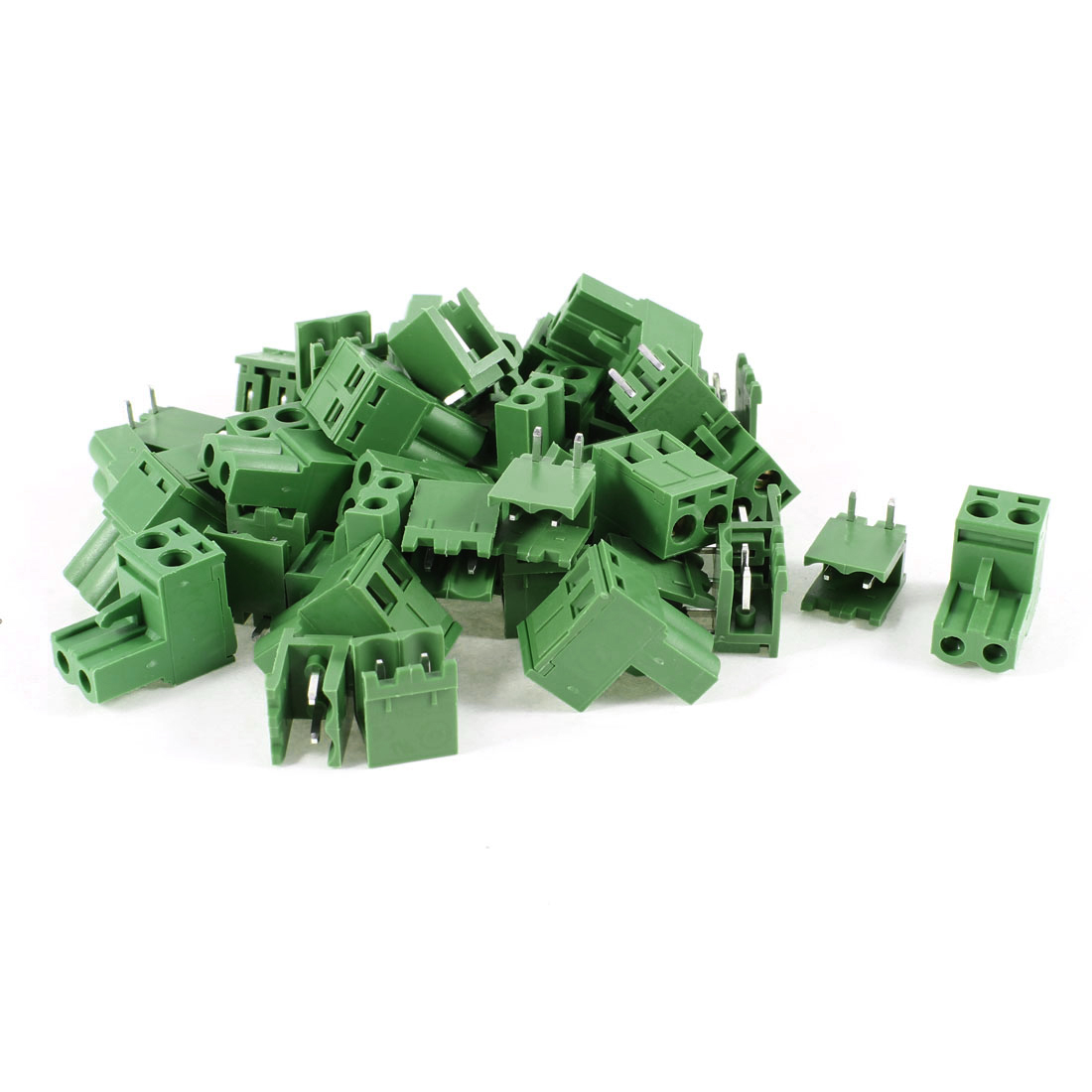 20 Pcs 300V 10A Single Row 2 Positions Pluggable Terminal Block Oliver Green