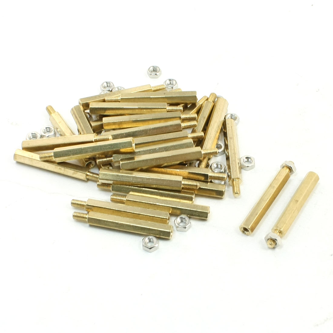 30mm Body Long M3x6mm Male to Female Brass Pillar Standoff Spacer 30Pcs