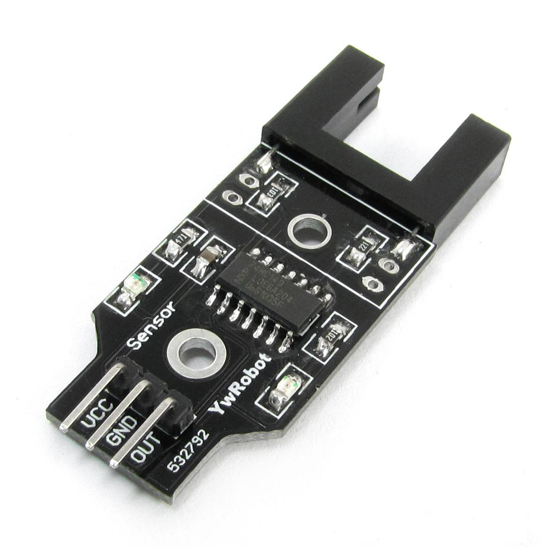 Black 3mm Hole Dia Mini Motor Speed Sensor Module 5V