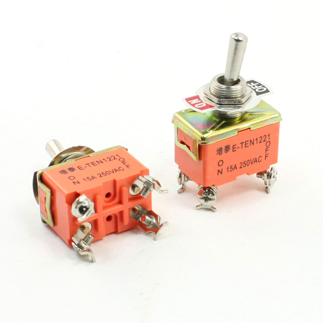 2pcs AC 250V 15A 4 Pins 2 Position On/Off DPST Latching Toggle Switch