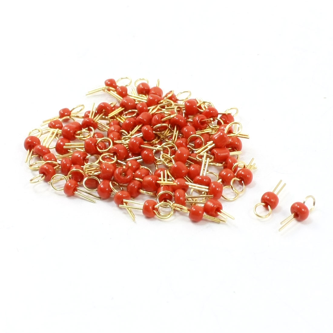 100 Pcs Red Ceramic Bead Copper PCB Test Endpoint Pin Terminal
