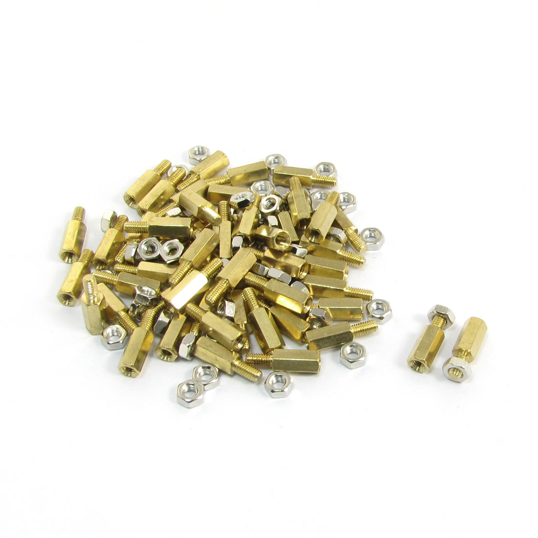 10mm Body Long M3x6mm Male to Female Brass Pillar Standoff Spacer 50Pcs