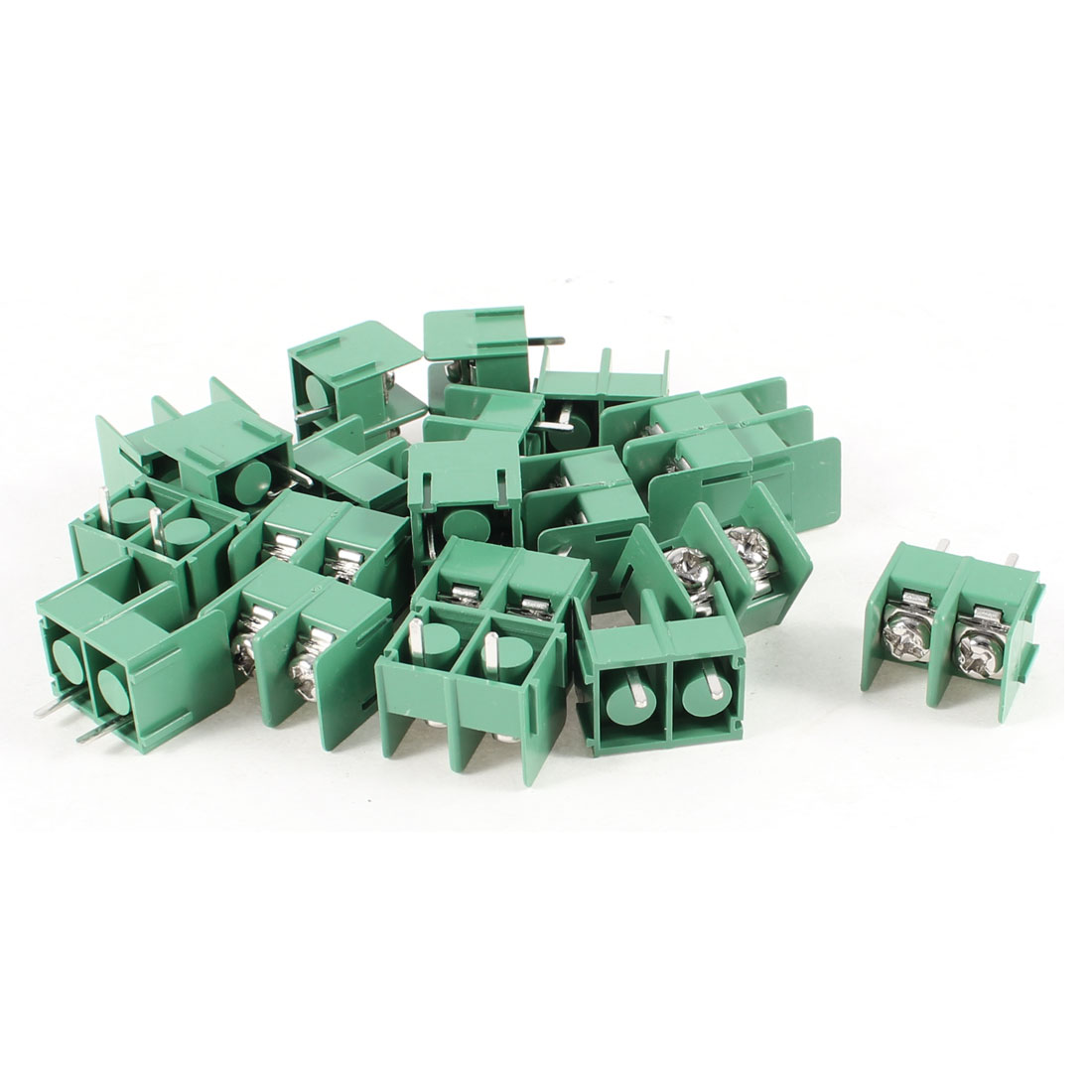 20 Pcs 300V 20A 2 Positions 7.62mm Pitch Pluggable Terminal Block Green