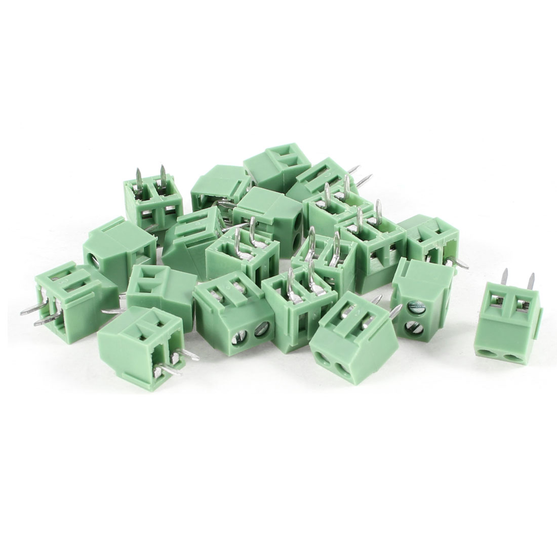 20 Pcs 300V 10A 2 Positions 3.5mm Pitch Pluggable Terminal Block Green