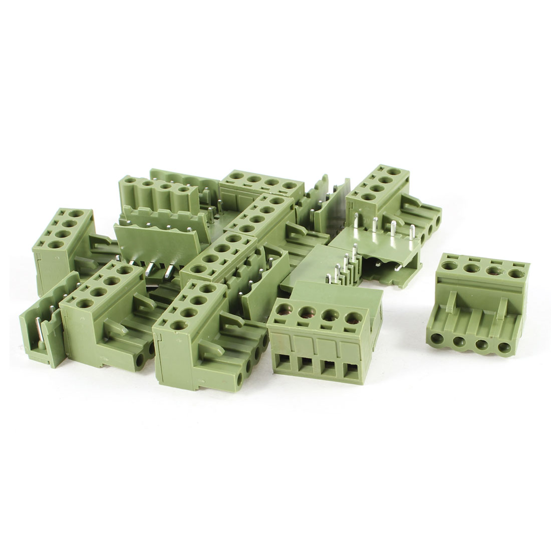 10 Pcs 300V 10A Single Row 4 Positions Pluggable Terminal Block Oliver Green