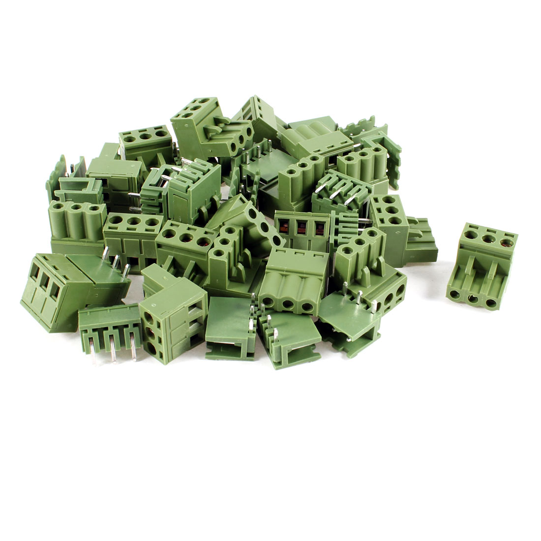 20 Pcs 300V 10A Single Row 3 Positions Pluggable Terminal Block Oliver Green