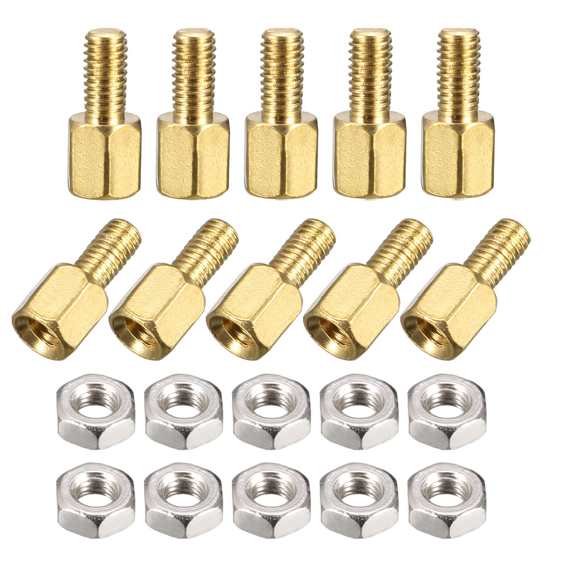 5mm Body Long M3x6mm Male to Female Brass Pillar Standoff Spacer 50Pcs