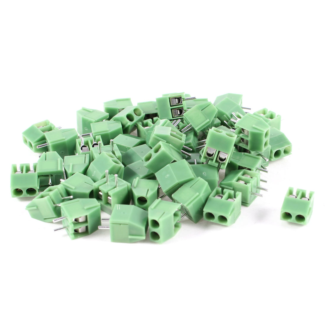 50 Pcs 300V 10A 2 Positions 5mm Pitch Pluggable Terminal Block Green