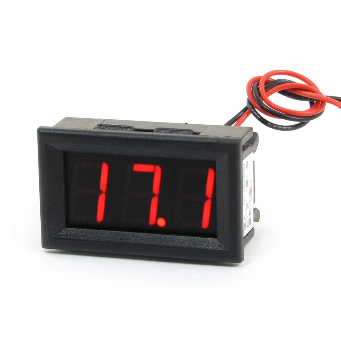 """Panel Mounted DC 15-80V Voltage 1.53"""" 3-Digital LED Voltmeter"""