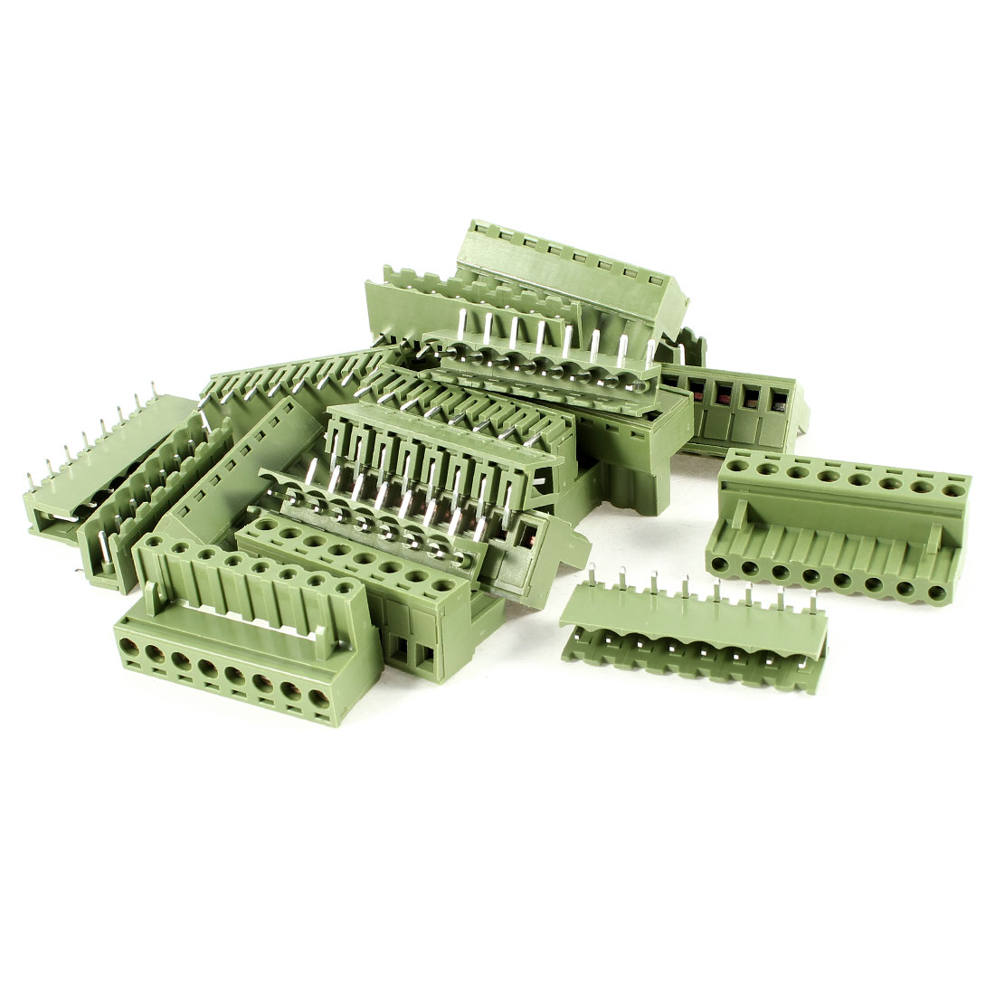 10 Sets 300V 10A Single Row 8 Positions Pluggable Terminal Block Oliver Green