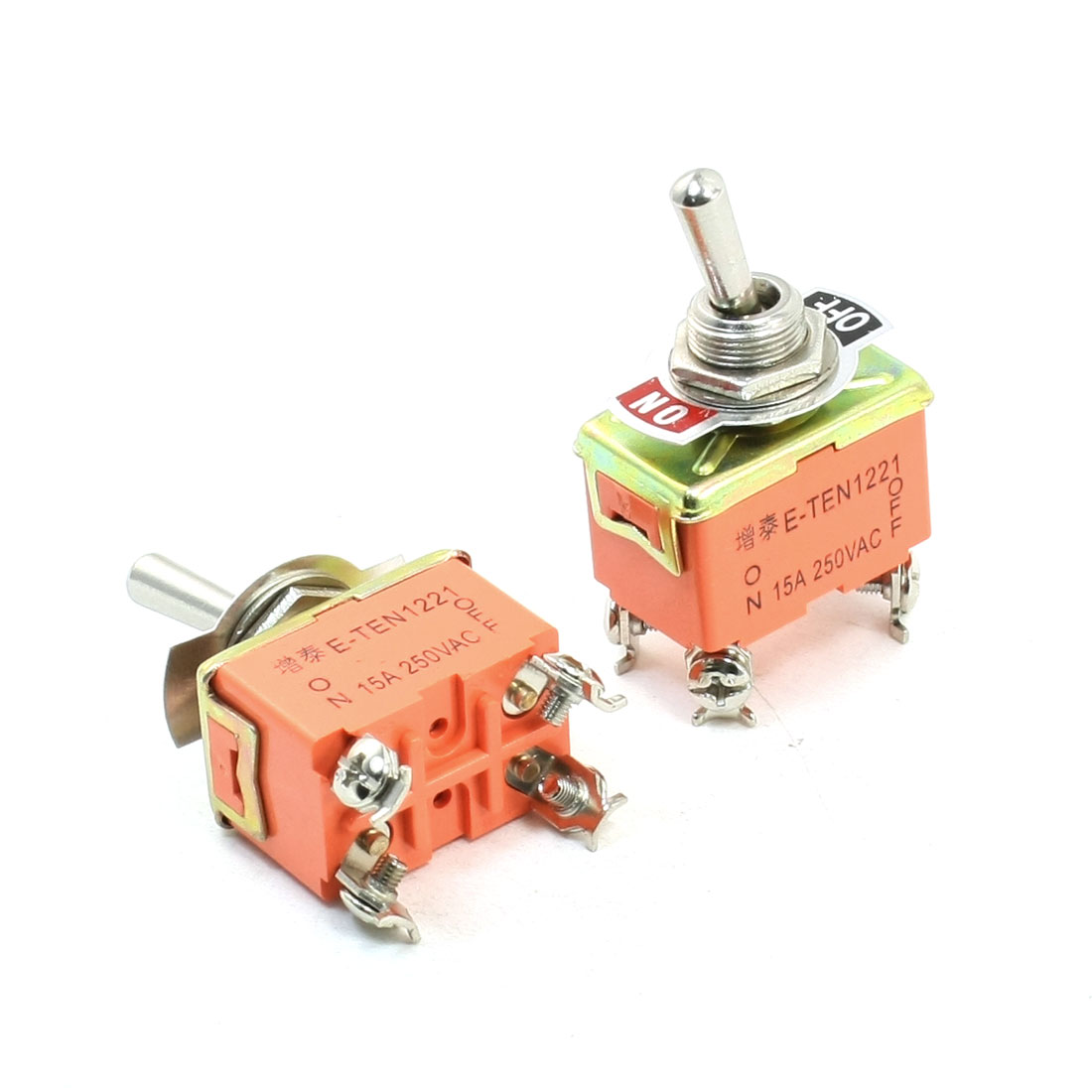 2PCS Panel Mount ON/OFF DPST 4 Pin Latching Toggle Switch AC 250V 15A