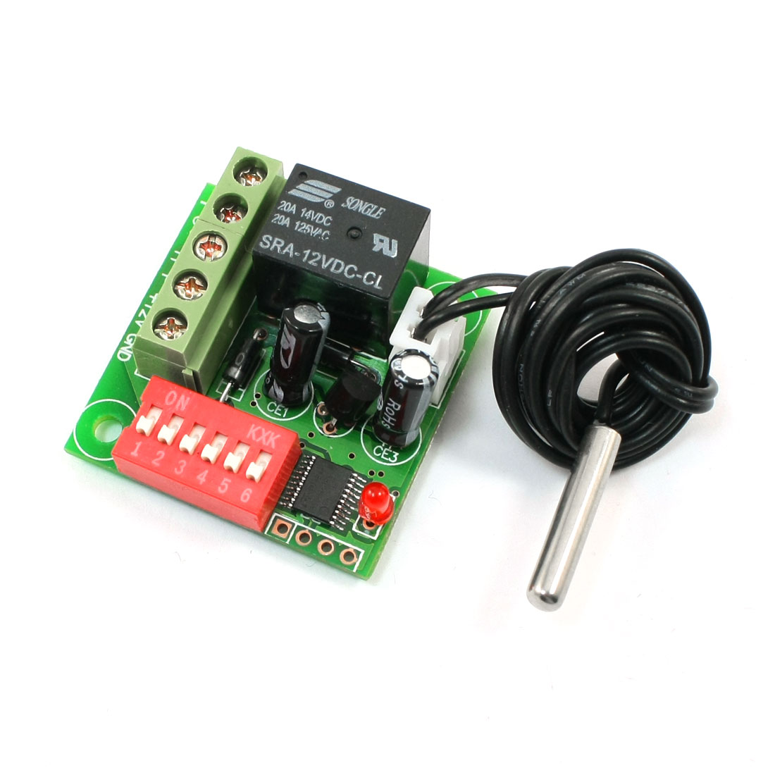Heat-Sensitive 20-99C Temperature Detect Switch DC 12V w Waterproof Probe