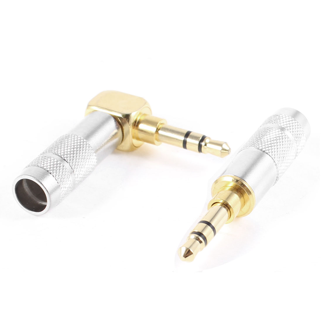2 Pcs Right Angled Straight 3.5mm Male Two Tone Metal Audio Adapter Converter