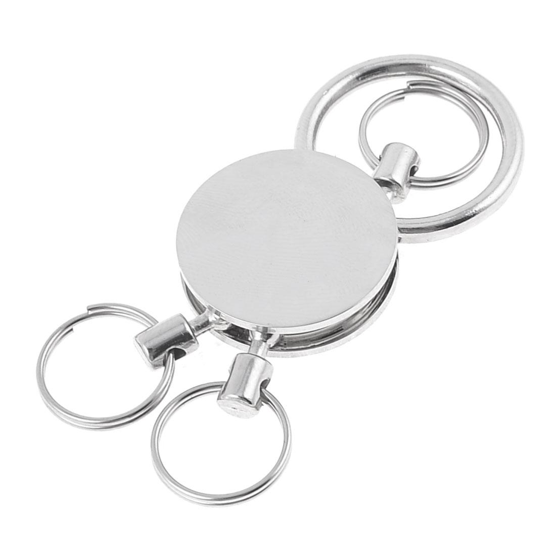 Key Holder 3 Mini Split Ring Polished Mirror Metal Pendant Keyring Keychain