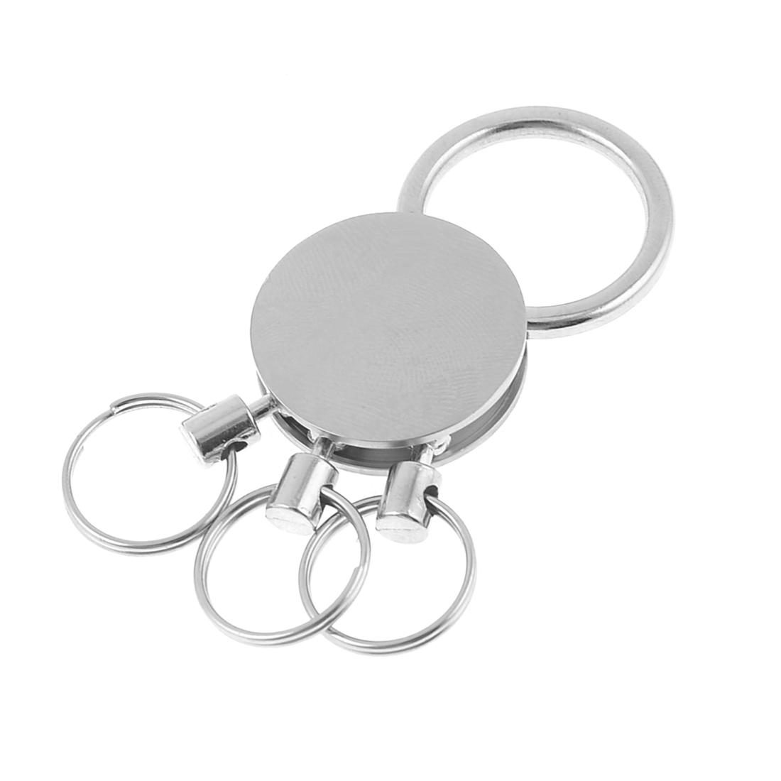 Key Holder Blank Metal Pendant Keyring Keychain w 3 Mini Split Rings