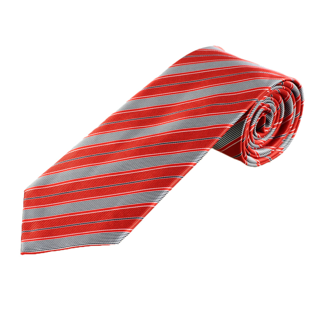8.5cm Wide Red Gray Slanting Stripe Pattern Self Tie Necktie for Bridegroom