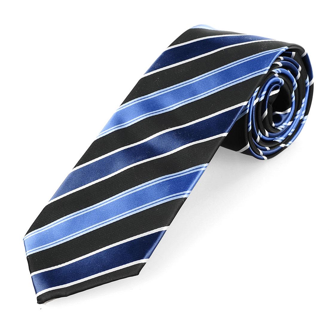 Self Tie Style Striped Wide Necktie Black White Blue for Men