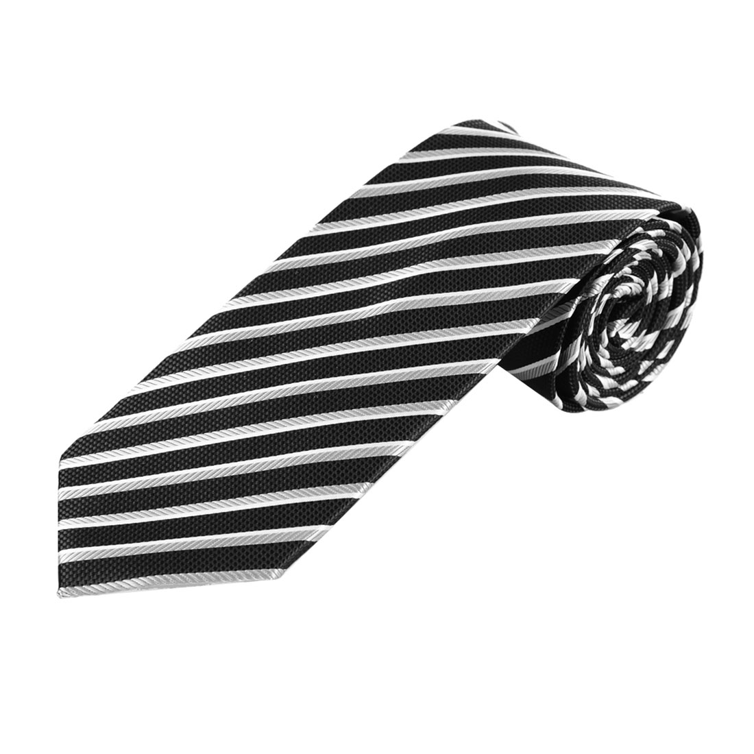 146cm Long Gray Black Diagonal Stripes Adjustable Neckwear Neck Tie for Man