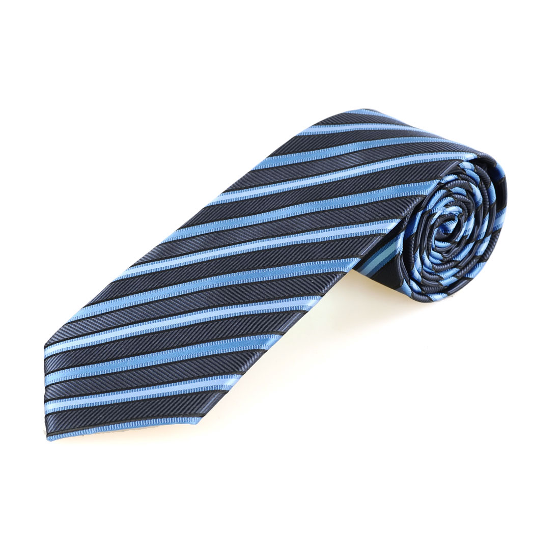 "3 7/8"" Width 55.5"" Length Slanted Stripe Blue Navy Blue Tie Necktie for Men"