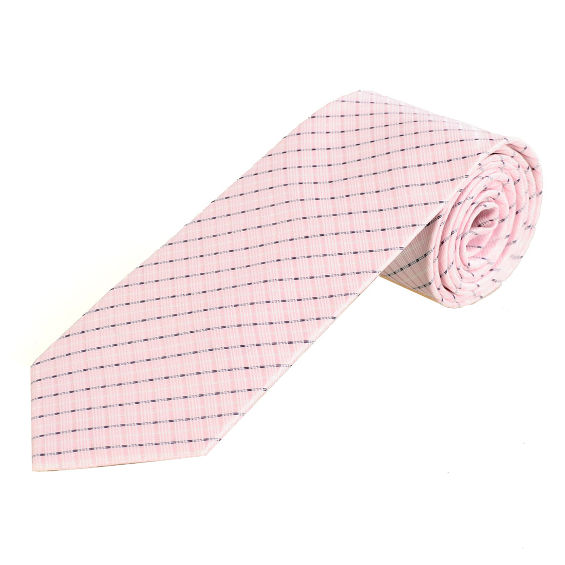 Men Twill Strip Pattern Pink Polyester Textured Neckwear Necktie
