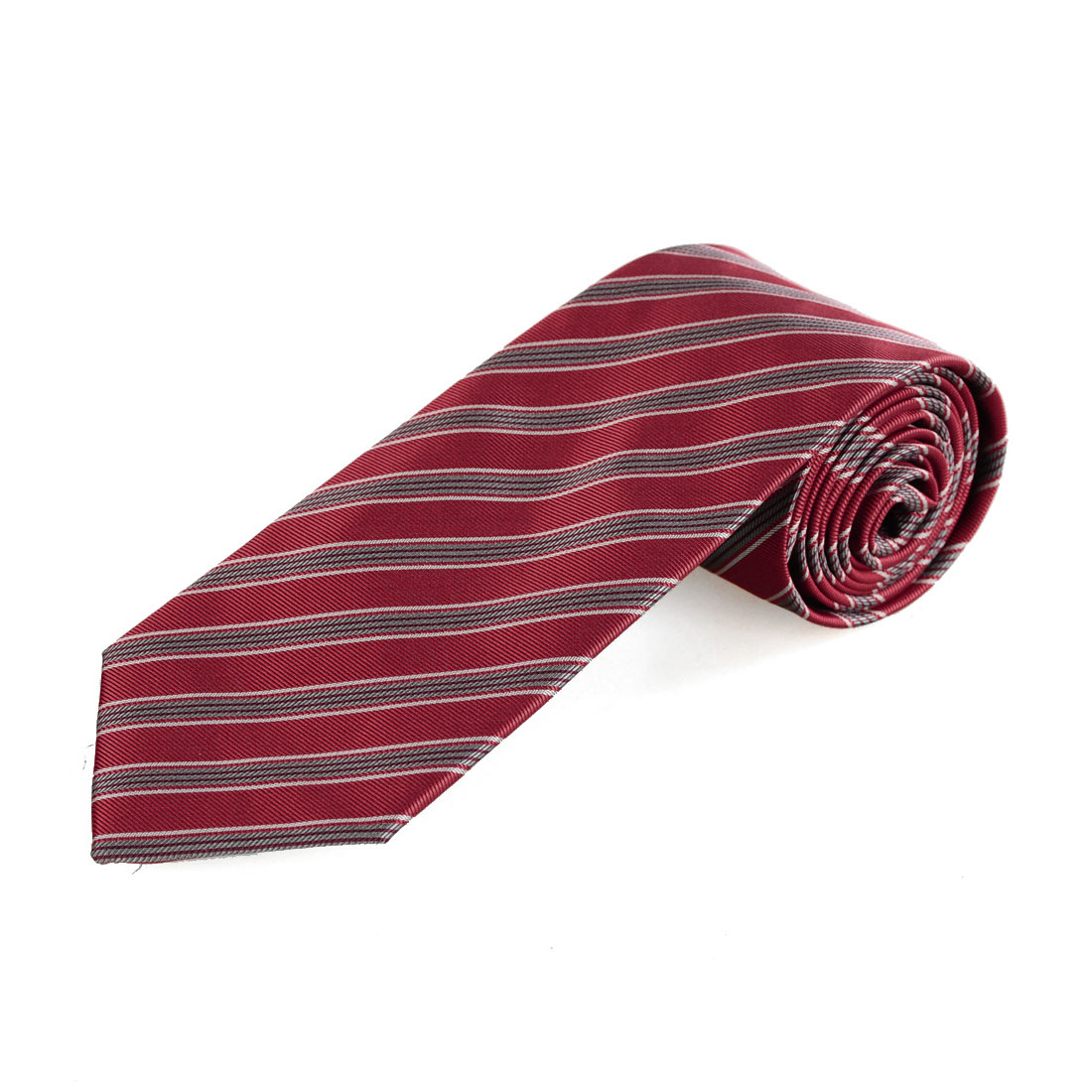 Party Gray and Red Inclined Stripes Print Men Clothing Decoration Tie